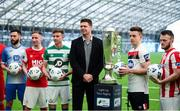 5 February 2020; FAI Interim Deputy Chief Executive Niall Quinn with SSE Airtricty League Premier Division players, from left, Dave Webster of Finn Harps, Ian Bermingham of St Patrick's Athletic, Ronan Finn of Shamrock Rovers, Darragh Leahy of Dundalk and David Cawley of Sligo Rovers during the launch of the 2020 SSE Airtricity League season at the Sport Ireland National Indoor Arena in Dublin. Photo by Stephen McCarthy/Sportsfile