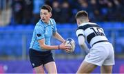 3 February 2020; Mark Canniffe of St Michael's College in action against Harry Gormley of Belvedere College during the Bank of Ireland Leinster Schools Junior Cup First Round match between St Michael's College and Belvedere College at Energia Park in Donnybrook, Dublin. Photo by Piaras Ó Mídheach/Sportsfile