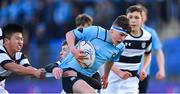 3 February 2020; Rory Brown of St Michael's College in action against Charlie Coughlan, left, and Patrick O'Grady of Belvedere College during the Bank of Ireland Leinster Schools Junior Cup First Round match between St Michael's College and Belvedere College at Energia Park in Donnybrook, Dublin. Photo by Piaras Ó Mídheach/Sportsfile