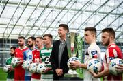5 February 2020; FAI Interim Deputy Chief Executive Niall Quinn with SSE Airtricty League Premier Division players, from left, Conor Davis of Cork City, Ciaran Kilduff of Shelbourne, Dave Webster of Finn Harps, Ian Bermingham of St Patrick's Athletic, Ronan Finn of Shamrock Rovers, Darragh Leahy of Dundalk and David Cawley of Sligo Rovers during the launch of the 2020 SSE Airtricity League season at the Sport Ireland National Indoor Arena in Dublin. Photo by Stephen McCarthy/Sportsfile