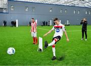 5 February 2020; Dundalk's Darragh Leahy, right, and David Cawley of Sligo Rovers during a skills competition at the launch of the 2020 SSE Airtricity League season at the Sport Ireland National Indoor Arena in Dublin. Photo by Seb Daly/Sportsfile