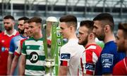 5 February 2020; SSE Airtricty League Premier Division players, from left, Ciaran Kilduff of Shelbourne, Dave Webster of Finn Harps, Ian Bermingham of St Patrick's Athletic, Ronan Finn of Shamrock Rovers, Darragh Leahy of Dundalk, David Cawley of Sligo Rovers, Robbie McCourt of Waterford and Conor Clifford of Derry City during the launch of the 2020 SSE Airtricity League season at the Sport Ireland National Indoor Arena in Dublin. Photo by Stephen McCarthy/Sportsfile