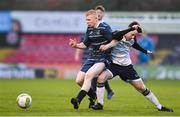 5 February 2020; Aaron Connolly of DCU in action against Ronan Wilson of Ulster University during the Rustlers IUFU Collingwood Cup Final match between DCU and Ulster University at Dalymount Park in Dublin. Photo by Sam Barnes/Sportsfile