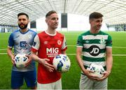 5 February 2020; Dave Webster of Finn Harps, left, Ian Bermingham of St Patrick's Athletic and Ronan Finn of Shamrock Rovers, right, during the launch of the 2020 SSE Airtricity League season at the Sport Ireland National Indoor Arena in Dublin. Photo by Stephen McCarthy/Sportsfile