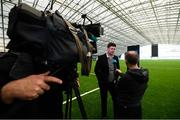 5 February 2020; FAI Interim Deputy Chief Executive Niall Quinn speaks to RTÉ during the launch of the 2020 SSE Airtricity League season at the Sport Ireland National Indoor Arena in Dublin. Photo by Stephen McCarthy/Sportsfile