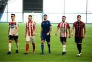 5 February 2020; SSE Airtricty League Premier Division players, from left, Darragh Leahy of Dundalk, David Cawley of Sligo Rovers, Robbie McCourt of Waterford, Conor Clifford of Derry City and Danny Grant of Bohemians during the launch of the 2020 SSE Airtricity League season at the Sport Ireland National Indoor Arena in Dublin. Photo by Stephen McCarthy/Sportsfile