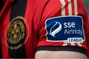 5 February 2020; A detailed view of the SSE Airtricty League logo and Bohemians club crest during the launch of the 2020 SSE Airtricity League season at the Sport Ireland National Indoor Arena in Dublin. Photo by Stephen McCarthy/Sportsfile