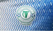 5 February 2020; A detailed view of the Finn Harps crest on their jersey during the launch of the 2020 SSE Airtricity League season at the Sport Ireland National Indoor Arena in Dublin. Photo by Stephen McCarthy/Sportsfile