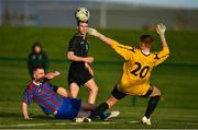 5 February 2020; Kevin Kelly of Cabra has a shot on goal saved by Ernest Lemantas of Irishtown during the FAI-ETB Bobby Smith Cup Final match between FAI-ETB Cabra and FAI-ETB Irishtown at FAI National Training Centre at the Sport Ireland Campus in Dublin. Photo by Eóin Noonan/Sportsfile