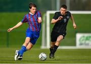 5 February 2020; Cian Walsh of Irishtown in action against Kevin Kelly of Cabra during the FAI-ETB Bobby Smith Cup Final match between FAI-ETB Cabra and FAI-ETB Irishtown at FAI National Training Centre at the Sport Ireland Campus in Dublin. Photo by Eóin Noonan/Sportsfile