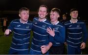 5 February 2020; DCU players, from left, Sean Cronin, Diarmuid Sexton, Ryan Smith and Dylan Clancy celebrate following the Rustlers IUFU Collingwood Cup Final match between DCU and Ulster University at Dalymount Park in Dublin. Photo by Sam Barnes/Sportsfile