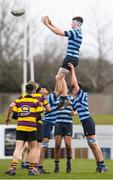 6 February 2020; Conor Boyle of Castleknock College takes the ball in the lineout against CBS Wexford during the Bank of Ireland Leinster Schools Junior Cup First Round match between CBS Wexford and Castleknock College at Greystones RFC in Wicklow. Photo by Matt Browne/Sportsfile