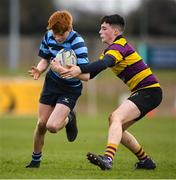 6 February 2020; Luke Donohue of Castleknock College is tackled by Robert Reynolds of CBS Wexford during the Bank of Ireland Leinster Schools Junior Cup First Round match between CBS Wexford and Castleknock College at Greystones RFC in Wicklow. Photo by Matt Browne/Sportsfile
