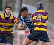 6 February 2020; Wili Khwaja of Castleknock College is tackled by Conor Dempsey of CBS Wexford during the Bank of Ireland Leinster Schools Junior Cup First Round match between CBS Wexford and Castleknock College at Greystones RFC in Wicklow. Photo by Matt Browne/Sportsfile