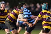 6 February 2020; Conor Boyle of Castleknock College is tackled by Kaylem Codd of CBS Wexford during the Bank of Ireland Leinster Schools Junior Cup First Round match between CBS Wexford and Castleknock College at Greystones RFC in Wicklow. Photo by Matt Browne/Sportsfile