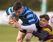 6 February 2020; Jack O'Neill of Castleknock College is tackled by Paidi Doyle of CBS Wexford during the Bank of Ireland Leinster Schools Junior Cup First Round match between CBS Wexford and Castleknock College at Greystones RFC in Wicklow. Photo by Matt Browne/Sportsfile