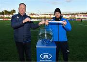 6 February 2020; Phil Lawlor, Head of Rugby Development at Leinster Rugby, left, and Charlie Dole, Gamesmaster at St Andrew's College, during the 2020 Bank of Ireland Leinster Rugby Schools Junior Cup Second Round Draw at Energia Park in Donnybrook, Dublin. Photo by Eóin Noonan/Sportsfile