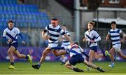 6 February 2020; Tom Brigg of Blackrock College is tackled by Conn Doherty of St Andrew's College during the Bank of Ireland Leinster Schools Junior Cup First Round match between St Andrew's College and Blackrock College at Energia Park in Donnybrook, Dublin. Photo by Eóin Noonan/Sportsfile