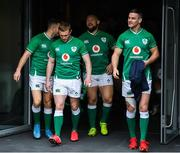 7 February 2020; Ireland players, from left, Jordan Larmour, Keith Earls, Andrew Porter and captain Jonathan Sexton during the Ireland Rugby captain's run at the Aviva Stadium in Dublin. Photo by Ramsey Cardy/Sportsfile