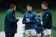 7 February 2020; Head coach Andy Farrell, left, in conversation with Conor Murray, centre, and Jonathan Sexton during the Ireland Rugby captain's run at the Aviva Stadium in Dublin. Photo by Ramsey Cardy/Sportsfile
