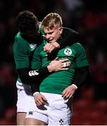 7 February 2020; Lewis Finlay of Ireland celebrates after scoring his side's third try with team-mate Andrew Smith during the U20 Six Nations Rugby Championship match between Ireland and Wales at Irish Independent Park in Cork. Photo by Harry Murphy/Sportsfile