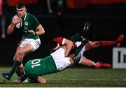 7 February 2020; Ben Moxham of Ireland receives the ball as Jack Crowley of Ireland is tackled by Dafydd Buckland of Wales during the U20 Six Nations Rugby Championship match between Ireland and Wales at Irish Independent Park in Cork. Photo by Harry Murphy/Sportsfile