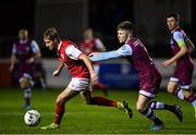 7 February 2020; Billy King of St Patrick's Athletic in action against Conor Kane of Drogheda United during the pre-season friendly match between St Patrick's Athletic and Drogheda United at Richmond Park in Dublin. Photo by Seb Daly/Sportsfile