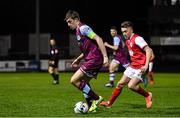7 February 2020; Jake Hyland of Drogheda United in action against Darragh Markey of St Patrick's Athletic during the pre-season friendly match between St Patrick's Athletic and Drogheda United at Richmond Park in Dublin. Photo by Seb Daly/Sportsfile
