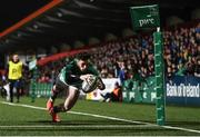 7 February 2020; Andrew Smith of Ireland goes over to score his side's fifth try during the U20 Six Nations Rugby Championship match between Ireland and Wales at Irish Independent Park in Cork. Photo by Harry Murphy/Sportsfile
