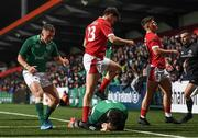 7 February 2020; Oran McNulty of Ireland celebrates as Andrew Smith of Ireland scores his side's fifth try during the U20 Six Nations Rugby Championship match between Ireland and Wales at Irish Independent Park in Cork. Photo by Harry Murphy/Sportsfile