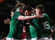 7 February 2020; Andrew Smith, centre, of Ireland celebrates after scoring his side's fifth try with  team-mates Sean O'Brien, left, and Oran McNulty during the U20 Six Nations Rugby Championship match between Ireland and Wales at Irish Independent Park in Cork. Photo by Harry Murphy/Sportsfile