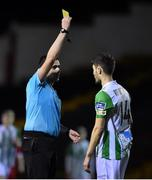 7 February 2020; Tristan Noack-Hofmann of Bray Wanderers receives a yellow card from referee Adriano Reale during the pre-season friendly match between Shelbourne and Bray Wanderers at Tolka Park in Dublin. Photo by Ben McShane/Sportsfile