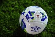 7 February 2020; A detailed view of the Shelbourne crest on the match-ball ahead of the pre-season friendly match between Shelbourne and Bray Wanderers at Tolka Park in Dublin. Photo by Ben McShane/Sportsfile