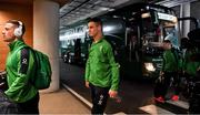 8 February 2020; Ireland captain Jonathan Sexton, centre, and John Cooney, left, arrive prior to the Guinness Six Nations Rugby Championship match between Ireland and Wales at Aviva Stadium in Dublin. Photo by Brendan Moran/Sportsfile