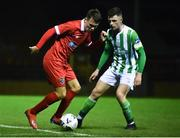 7 February 2020; Dayle Rooney of Shelbourne in action against Andy Moran of Bray Wanderers during the pre-season friendly match between Shelbourne and Bray Wanderers at Tolka Park in Dublin. Photo by Ben McShane/Sportsfile