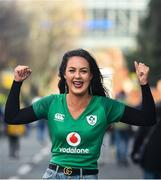 8 February 2020; Ireland supporter Hannah Johnson, from Magherafelt, Northern Ireland, prior to the Guinness Six Nations Rugby Championship match between Ireland and Wales at Aviva Stadium in Dublin. Photo by David Fitzgerald/Sportsfile