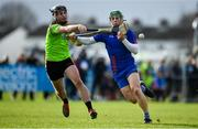 8 February 2020; Gary Cooney of Mary Immaculate College Limerick in action against Jason Cleere of IT Carlow during the Fitzgibbon Cup Semi-Final match between Mary Immaculate College Limerick and IT Carlow at Dublin City University Sportsgrounds. Photo by Sam Barnes/Sportsfile