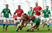 8 February 2020; Dan Biggar of Wales in action against Josh van der Flier of Ireland during the Guinness Six Nations Rugby Championship match between Ireland and Wales at the Aviva Stadium in Dublin. Photo by Ramsey Cardy/Sportsfile