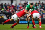 8 February 2020; Jonathan Sexton of Ireland is tackled by Hadleigh Parkes, left, and Tomos Williams of Wales during the Guinness Six Nations Rugby Championship match between Ireland and Wales at Aviva Stadium in Dublin. Photo by David Fitzgerald/Sportsfile