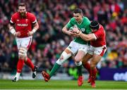 8 February 2020; Jonathan Sexton of Ireland is tackled by Leigh Halfpenny of Wales during the Guinness Six Nations Rugby Championship match between Ireland and Wales at Aviva Stadium in Dublin. Photo by Brendan Moran/Sportsfile