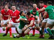 8 February 2020; Josh Adams of Wales is tackled by Bundee Aki, left, and Iain Henderson of Ireland during the Guinness Six Nations Rugby Championship match between Ireland and Wales at Aviva Stadium in Dublin. Photo by Brendan Moran/Sportsfile