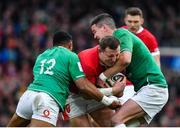 8 February 2020; Hadleigh Parkes of Wales is tackled by Bundee Aki, left, and Jonathan Sexton of Ireland during the Guinness Six Nations Rugby Championship match between Ireland and Wales at Aviva Stadium in Dublin. Photo by Brendan Moran/Sportsfile
