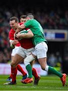 8 February 2020; Hadleigh Parkes of Wales is tackled by Jonathan Sexton of Ireland during the Guinness Six Nations Rugby Championship match between Ireland and Wales at Aviva Stadium in Dublin. Photo by Brendan Moran/Sportsfile