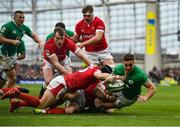8 February 2020; Jordan Larmour of Ireland dives over to score his side's first try during the Guinness Six Nations Rugby Championship match between Ireland and Wales at Aviva Stadium in Dublin. Photo by David Fitzgerald/Sportsfile