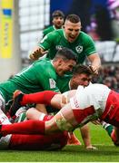 8 February 2020; Jordan Larmour of Ireland celebrates after scoring his side's first try with team-mates Jonathan Sexton and Andrew Conway during the Guinness Six Nations Rugby Championship match between Ireland and Wales at Aviva Stadium in Dublin. Photo by David Fitzgerald/Sportsfile