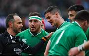 8 February 2020; Ireland captain Jonathan Sexton, right, and referee Romain Poite during the Guinness Six Nations Rugby Championship match between Ireland and Wales at the Aviva Stadium in Dublin. Photo by Ramsey Cardy/Sportsfile