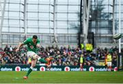 8 February 2020; Jonathan Sexton of Ireland kicks a conversion which is subsequently missed during the Guinness Six Nations Rugby Championship match between Ireland and Wales at Aviva Stadium in Dublin. Photo by David Fitzgerald/Sportsfile