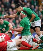 8 February 2020; Rob Herring, left, and Conor Murray celebrate Ireland's second try by Tadhg Furlong during the Guinness Six Nations Rugby Championship match between Ireland and Wales at the Aviva Stadium in Dublin. Photo by Ramsey Cardy/Sportsfile