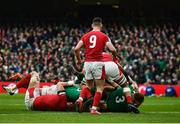 8 February 2020; Tadhg Furlong of Ireland dives over to score his side's second try during the Guinness Six Nations Rugby Championship match between Ireland and Wales at Aviva Stadium in Dublin. Photo by David Fitzgerald/Sportsfile