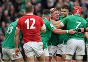 8 February 2020; Tadhg Furlong, centre, celebrates after scoring Ireland's second try during the Guinness Six Nations Rugby Championship match between Ireland and Wales at the Aviva Stadium in Dublin. Photo by Ramsey Cardy/Sportsfile